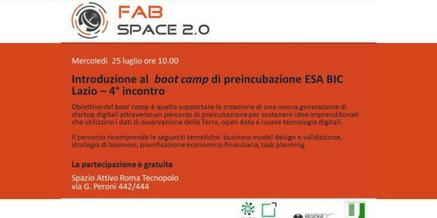 FabSpace 2.0 – Boot camp di preincubazione ESA Bic Lazio – 25 luglio