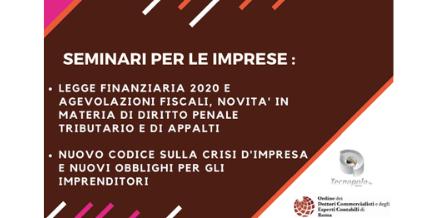 Seminari su Legge di bilancio 2020 e Nuovo Codice Crisi d'Impresa – 20 febbraio e 5 marzo 2020 h. 15.00
