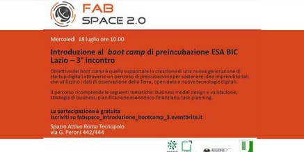 FabSpace 2.0 – Boot camp di preincubazione ESA Bic Lazio – Mercolledì 18 luglio